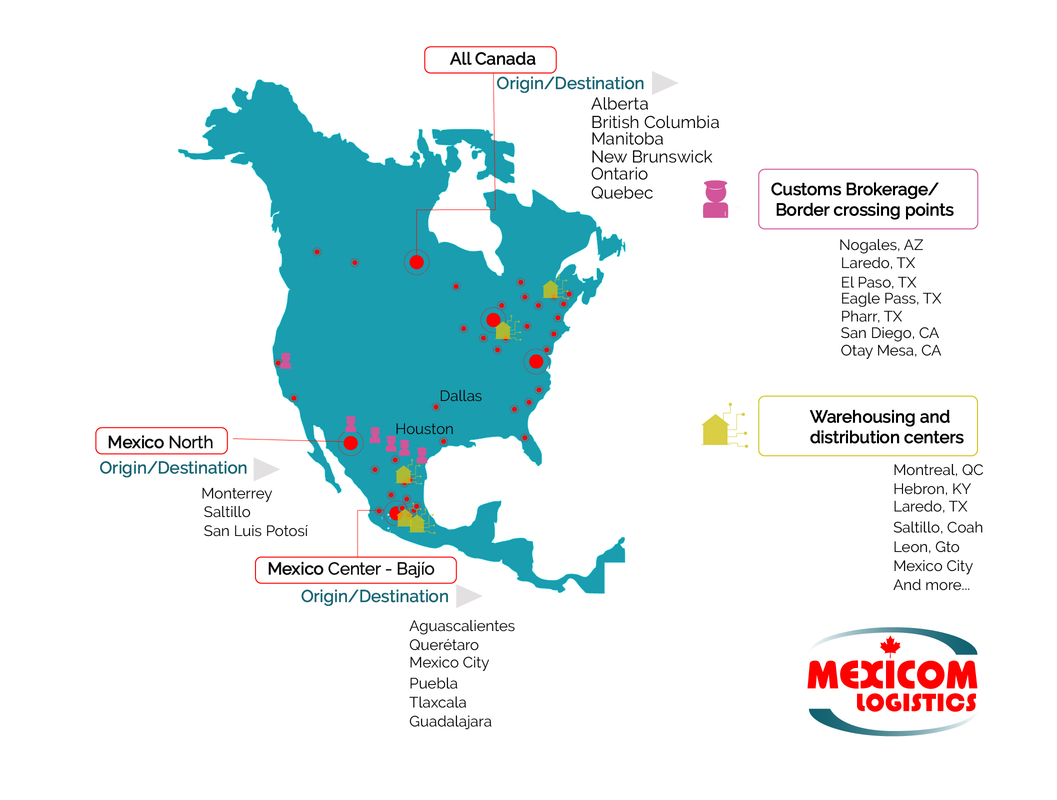 freight-transport-between-canada-and-mexico-map-main-cities ...