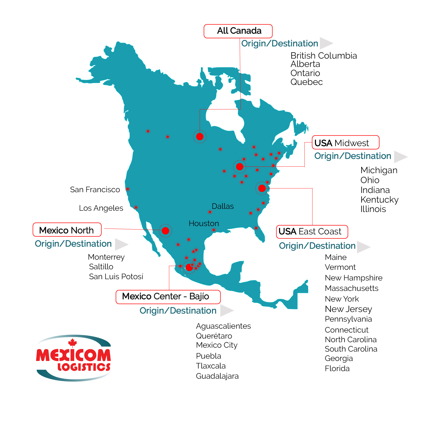 North America Transport Freight Services Map Main Cities