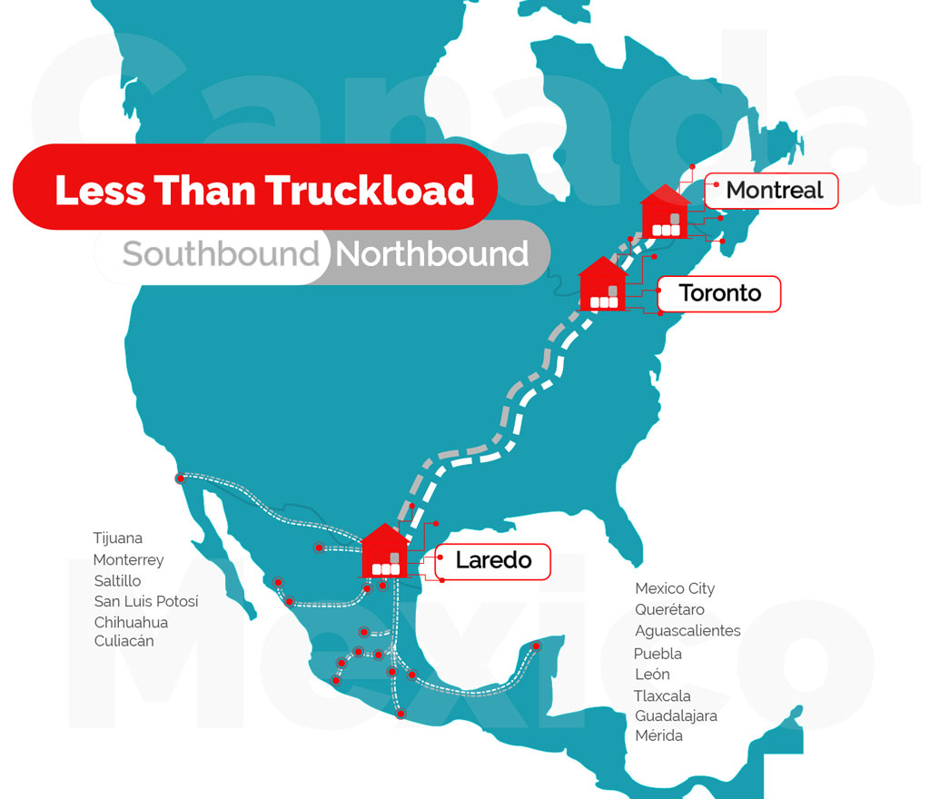 LTL Less than Truckload Services between Montreal Toronto Laredo and Mexico