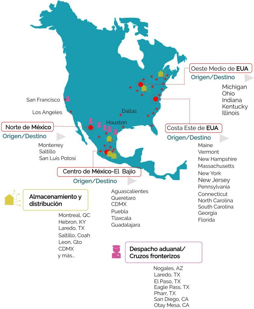 Principales ciudades en las que Mexicom Logistics brinda sus servicios de transporte de carga entre Estados Unidos y Mexico