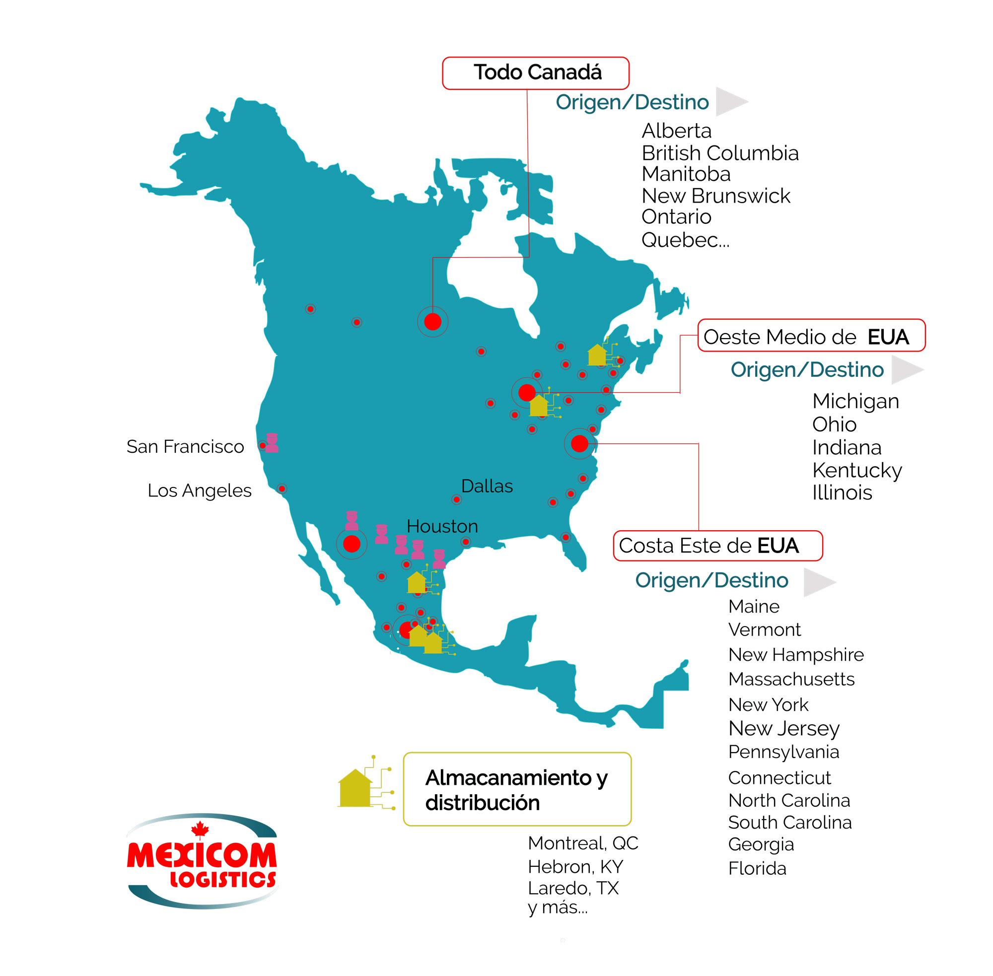 Servicios de transporte terrestre de carga entre principales puntos de Canadá y Estados Unidos