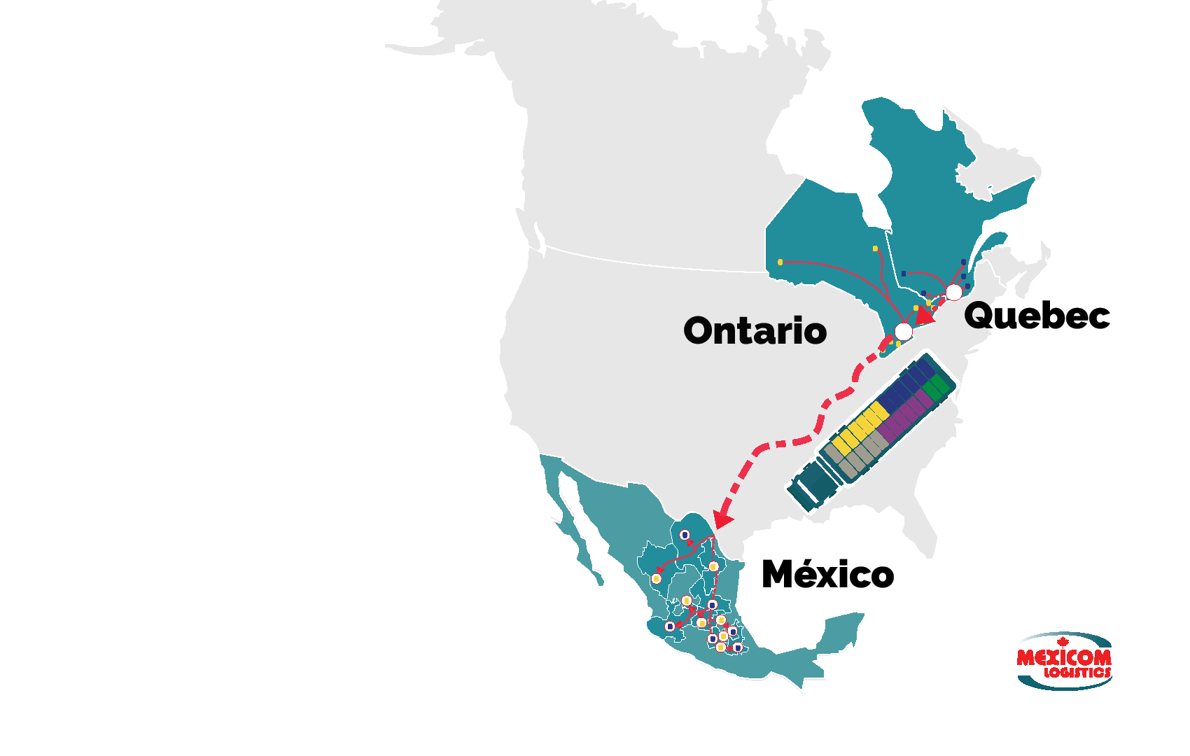 Mexicom Logistics transports commercial goods from Ontario and Quebec to Mexico