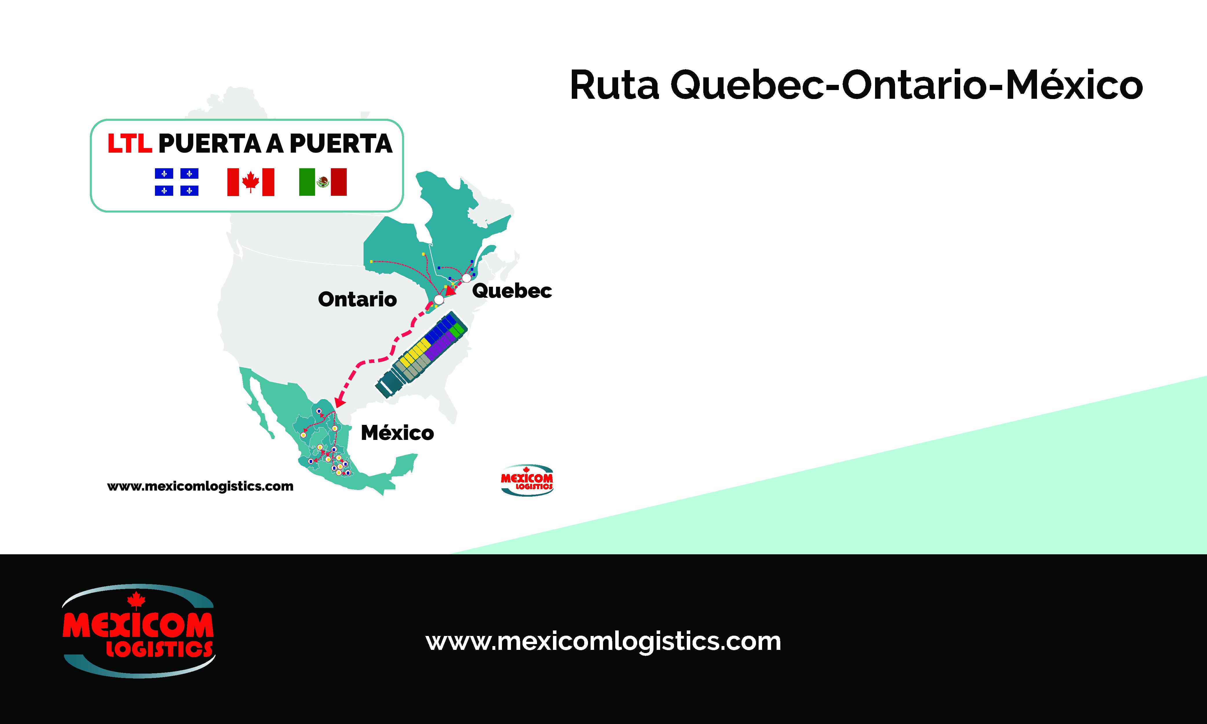 Transporte LTL Quebec Ontario Mexico Mexicom Logistics