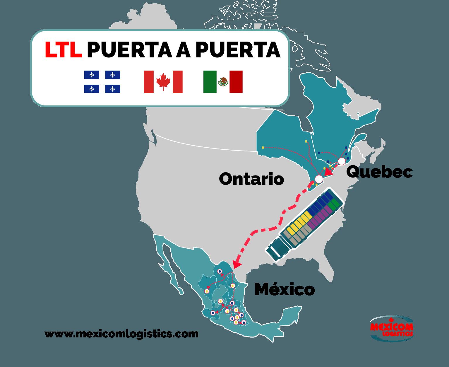 Transporte consolidado Puerta a Puerta Quebec Ontario Mexico Mexicom Logistics
