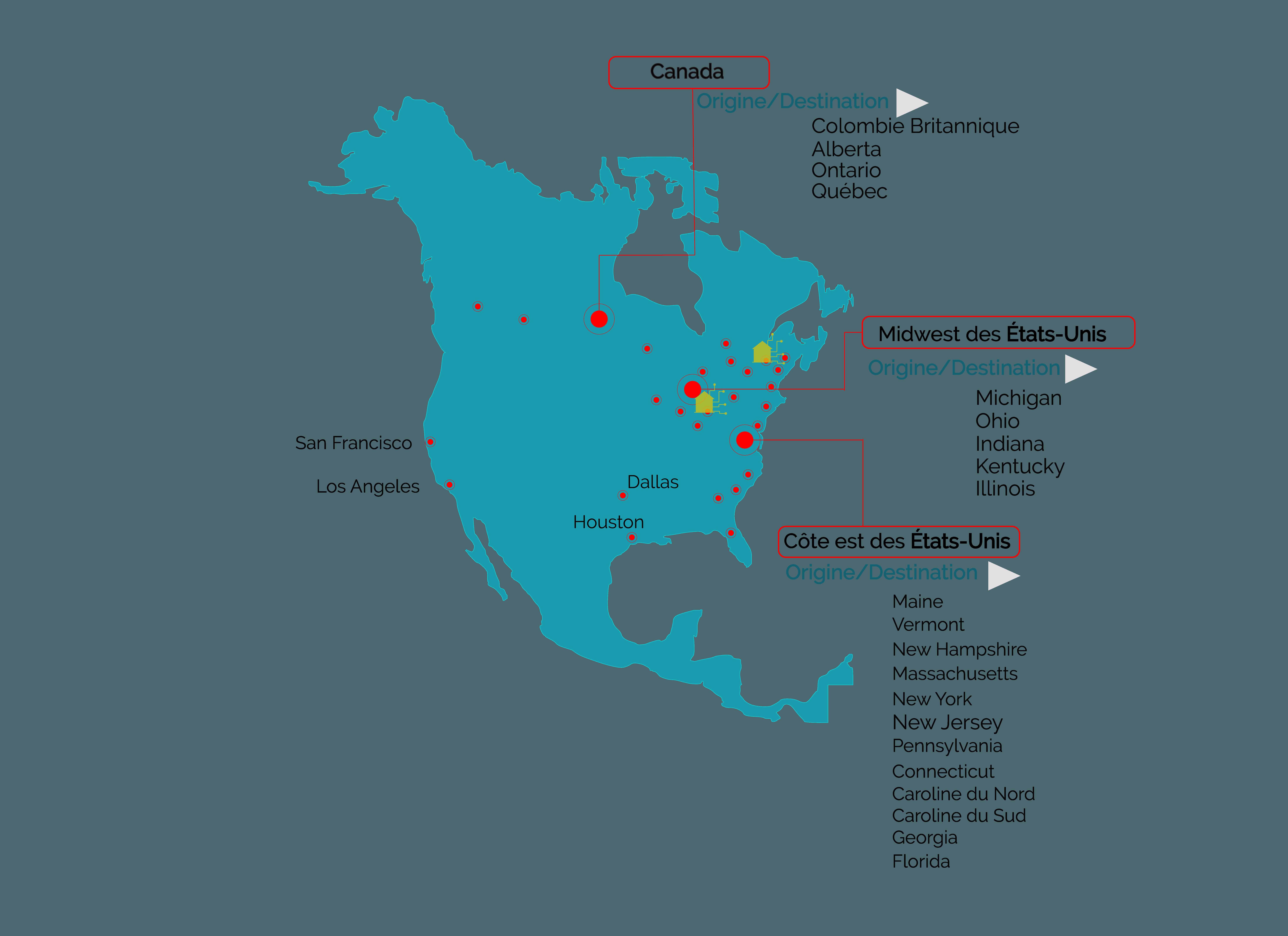 Services de transport routier entre le Canada, le Québec et les États-Unis