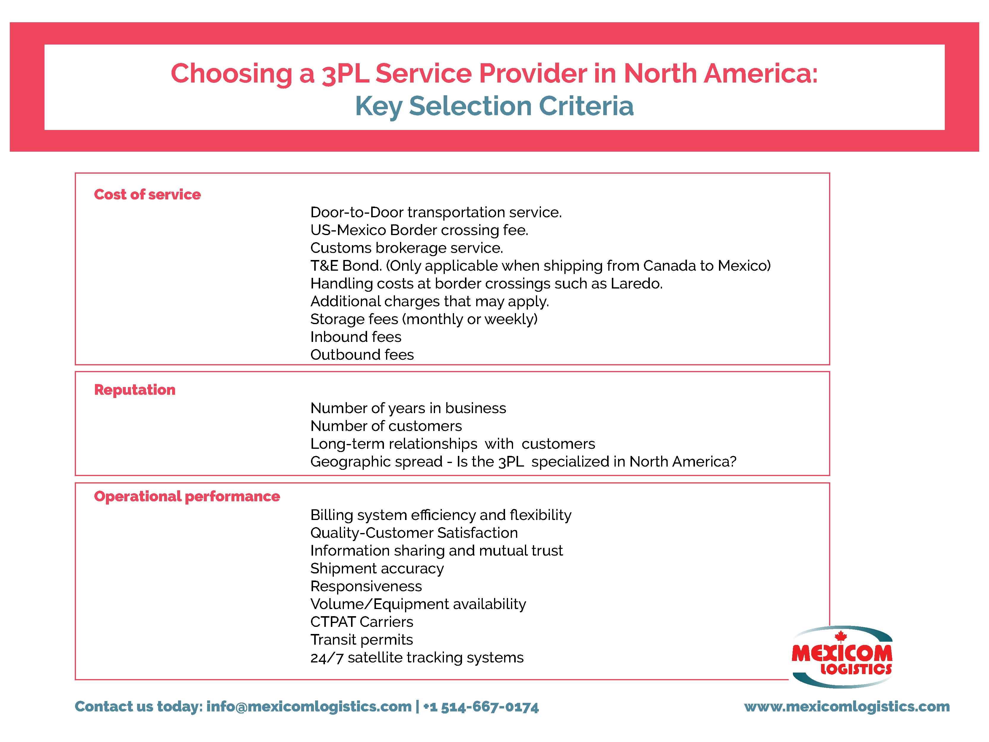 3PL Service provider in North America Key Selection Criteria